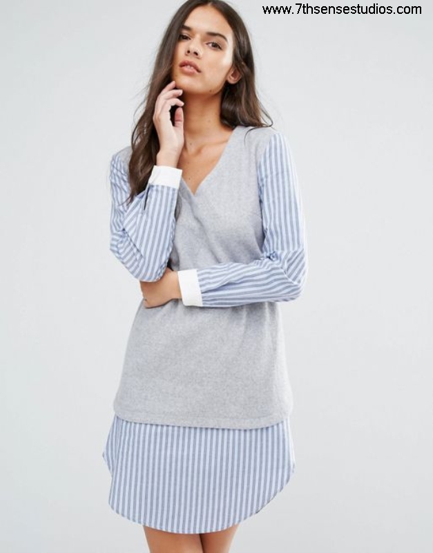 Sisley 2 in 1 Evident layer shirt dress grey womensisley Guarantee Quality dublin100 high dresses AJLTUWXY06